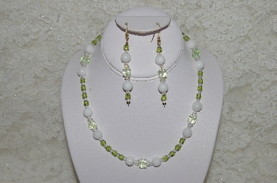 "MBAHB #33-113  ""White Jade, Olive Green Czech & Fancy Green & Clear Glass Bead Necklace & Earring Set"""