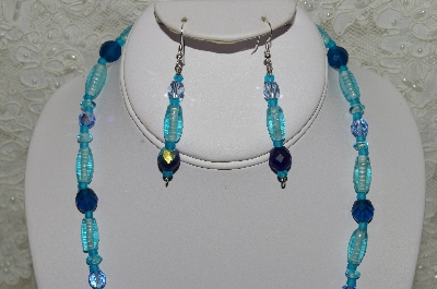 "MBAHB #33-045  ""Three Shades Of Blue Glass & Crystal Bead Necklace & Matching Earring Set"""