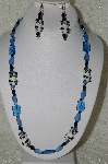 "MBAHB #33-049  ""Fancy Lampworked Glass Panda & Blue Glass Bead Necklace & Matching Earring Set"""