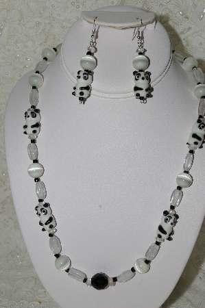 "MBAHB #33-085  ""Fancy Lampworked Glass Panda's, White Cats Eye & Clear Glass Bead Necklace & Matching Earring Set"""