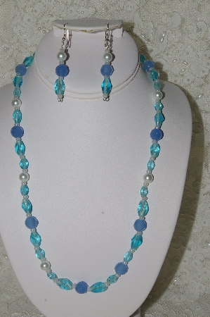 "MBAHB #33-005  ""Fancy Blue Glass & White Glass Pearl Necklace & Matching Earring Set"