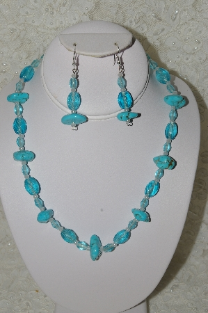 "MBAHB #33-124  ""Fancy Blue Turquoise & Aqua Blue Glass Beaded Necklace & Matching Earring Set"""