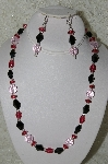 "MBAHB #33-039  ""Black Glass, Cranberry Glass & Pink faceted Glass Bead Necklace & Matching Earring Set"""