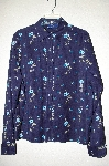 "MBADG #13-034  ""Basic Editions Blue Floral Hand Beaded Peach Skin Shirt"""