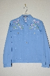 "**MBADG #13-137  ""Blaine Trump Blue Floral Embroidered Jean Jacket"""