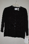 "MBADG #13-160  ""Emma E. James Black Silk Hand Beaded Button Front Sweater"""
