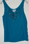 "MBADG #13-172  ""1980's Surya Green One Of A Kind Rayon Hand Beaded Tank"""
