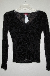 "**MBADG #13-173  ""Janette Black Velvet Burn Out Shirt"""