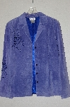 "MBADG #13-233  ""Victor Costa Floral Cut Out Blue Suede Jacket"""