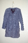 "MBADG #13-211 ""Dialogue Blue Suede V-Neck Duster With Embroidery"""