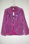"MBADG #5-005  ""Bob Mackie's ""Della Robbia"" Embroidered Berry Suede Jacket"""