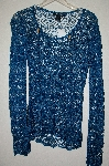 "MBADG #5-050  ""Bette Sung Agean Blue Fancy Crochet Pullover Top"""