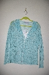 "MBADG #5-325  ""Modern Soul Handcrafted Blue Crochet Cardigan With Ribbon Floral Trim"""