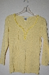 "MBADG #5-088  ""R"" One Of A Kind Yellow Hand Beaded Sweater"""