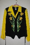 "MBADG #5-240  ""Bob Mackie's Black & Yellow  Silk Floral Embroidered Weskit"""