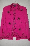 "MBADG #5-146  ""Silkland Petite DK Pink One Of A Kind Hand Beaded Silk Top"""