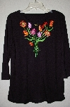 "MBADG #5-196  ""Bob Mackie's 3/4 Sleve Embroidered Split Neck Top"""