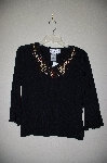 "MBADG #5-232  ""Joseph A Fancy Wood Bead Embelished Black Knit Sweater"""