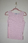 "MBADG #5-283  ""Marisa Christina Fancy Pink Knit Glass Pearl Embelished Tank"""