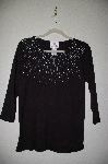 "MBADG #5-344  ""Quacker Factory Starburst Pearl & Bead 3/4 Sleve Knit Top"""