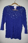 "MBADG #5-341  ""Quacker Factory Blue Starburst Pearl & Bead 3/4"" Sleve Knit Top"""