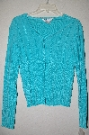 "MBADG #5-318  ""John Paul Richard Uniform Petite Fancy Blue Knit Cardigan"""