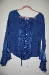 "MBADG #5-306  ""Encounter DK Blue Fancy Embroidered Button Front Top"""