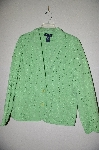 "MBADG #9-041 ""Denim & Co One Of A Kind Hand Beaded Green Eyelet Blazer"""