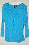 "MBADG #9-048  ""Forenza Turquoise Blue Satin Trim Top"""