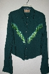 "MBADG #9-060  ""New Frontier Green One Of A Kind Hand Beaded Top"""