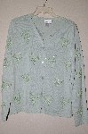 "MBADG #9-185  ""Coldwater Creek Mint Green One Of A Kind Hand Beaded Button Front Sweater"""