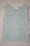 "MBADG #9-188  ""Coldwater Creek Mint Green One Of A Kind Hand Beded Knit Tank"""