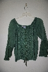 "MBADG #9-210  ""Encounter Fancy Green Rayon Embroidered Tie Front Top"""