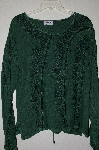 "MBADG #218  ""Encounter Fancy Green Rayon Tie Back Embroidered Top"""