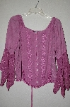 "MBADG #9-279  ""L Pogee  Fancy Floral Embroidered Rose Pink Rayon Button Front Top"""