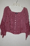 "MBADG #9-283  ""L Pogee Fancy Rose Pink Embroidered Rayon Button Front Top"""