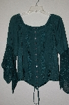 "MBADG #9-288  ""L Pogee Fancy Green Floral Embroidered Rayon Button Front Top"""