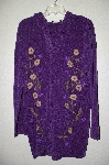 "MBADG #9-242  ""Denim & Co Purple Chenille Hooded Topper With Floral Embroidery"""