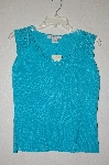 "MBADG #9-268  ""Como Turquoise Blue Fancy Crochet Top Tank"""
