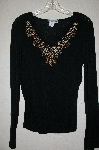 "MBADG #9-295  ""Body Central Black Embroidery & Beaded Top"""
