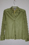 "MBADG #18-338  ""Caribbean Joe Lime Green Suede Look Button Front Shirt"""