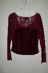 "**MBADG #18-021  ""Moda International Fancy Red Lace & Corduroy Top"""
