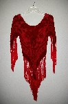 "**MBADG #18-025  ""Mulin Red Silk Rose Burn Out Top"""