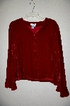 "**MBADG #18-028  ""Coldwater Creek Red Velvet Button Front Cardigan"""