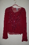 "**MBADG #18-039B  ""Newport News Fancy Red Silk Hand Beaded Top"""