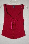"MBADG #18-065  ""Moda International Fancy Red Satin Trimed Tank"""