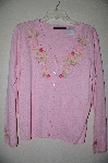 "MBADG #18-121  ""Blaine Trump Fancy Floral Applique Button Front Sweater"""