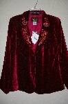 "**MBADG #18-144  ""Bob Mackies Red Velvet Rose Pattern Jacket"""