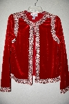 "**MBADG #18-280  ""Victor Costa Red Velvet Embelished Dinner Jacket"""