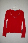 "MBADG #18-289  ""Body Central Red One Of A Kind Fancy Hand Beaded Top"""